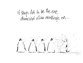 Cartoon of four penguins all moulting feathers being blown all on the fifth penguin