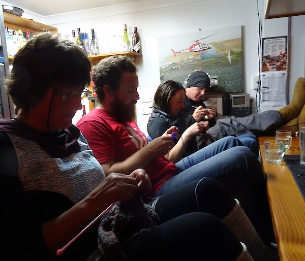 Karen, Jimmy, Jane and Rich crocheting at the bar watching the Men's singles final.