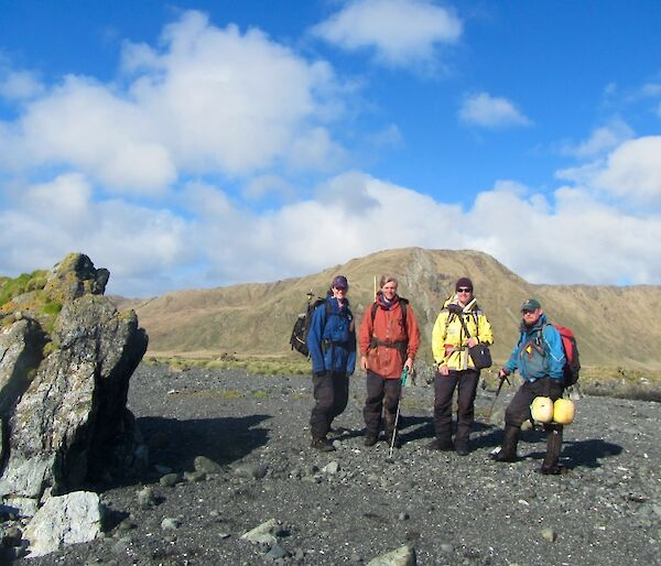 Group photo of four people ready to set out on northern giant petrel census