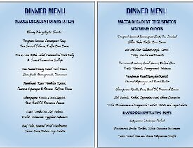 Our Midwinter's menu — each dish created by Annette our Chef