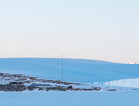 Looking back to station and the David Range from the sea ice