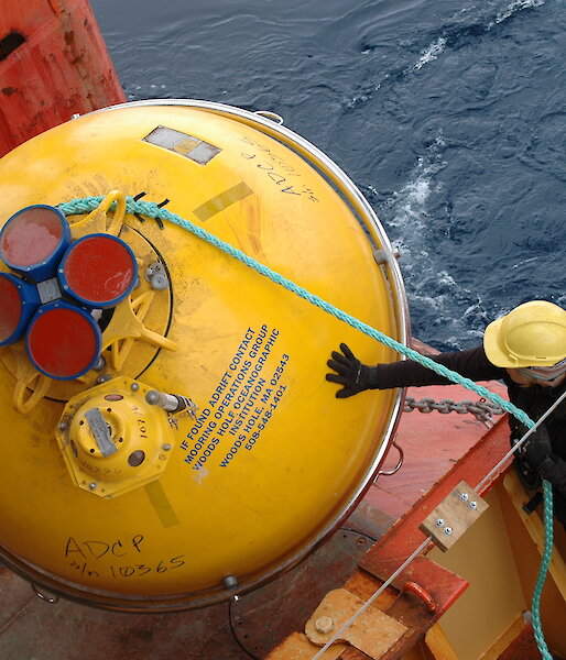 Part of an ocean mooring being deployed in the Southern Ocean.