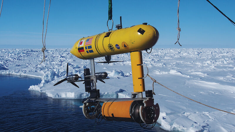 Autonomous Underwater Vehicles (AUVs) such as this one being deployed in the Southern Ocean, can map the underside of sea ice using an upward looking sonar.