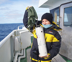 The directional sonobuoy used to listen for blue whale songs