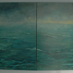 Painting, diptych, oil on canvas, stretched over frame. Two equal sized panels. Scene is Green sea, stormy sky a tabular iceberg and a snow petrel.