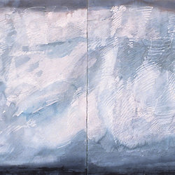 Painting by Jorg Schmeisser of icebergs