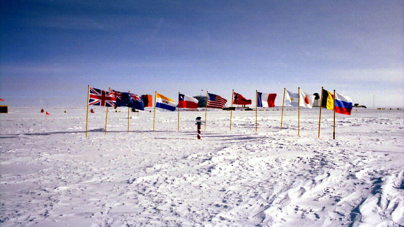 International flags at the ceremonial south pole