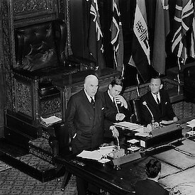 Prime Minister Menzies and Minister for Navy, John Gorton, at the first Antarctic Treaty Consultative Meeting in Canberra in 1961.