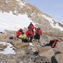 Mawson expeditioners at Proclamation Point