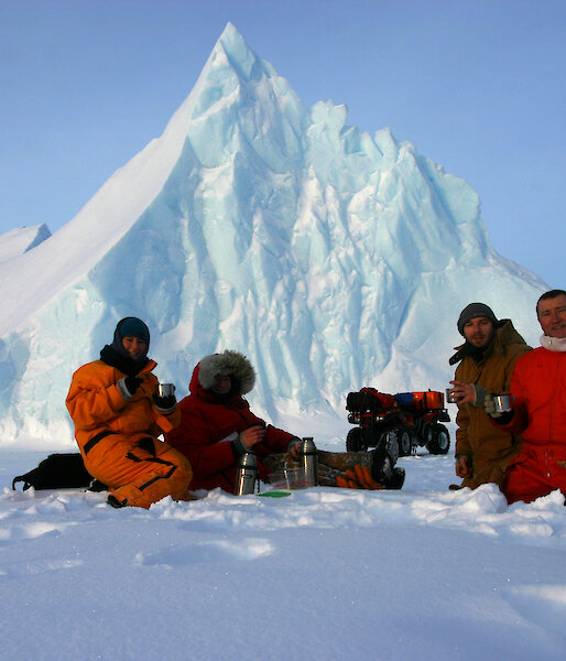 Coffee break on the sea ice near grounded iceberg
