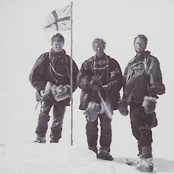 First at the South Magnetic Pole — left to right: A Forbes Mackay, T W Edgeworth David, D Mawson