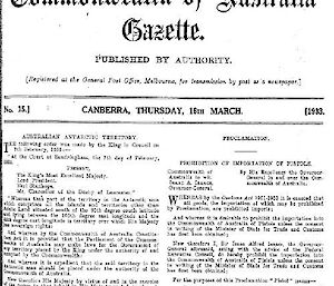 Black and white Australian government document bearing the coat of arms.