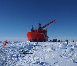 The ice mooring line designed, made and installed by the science technical support group (Photo: Wendy Pyper)
