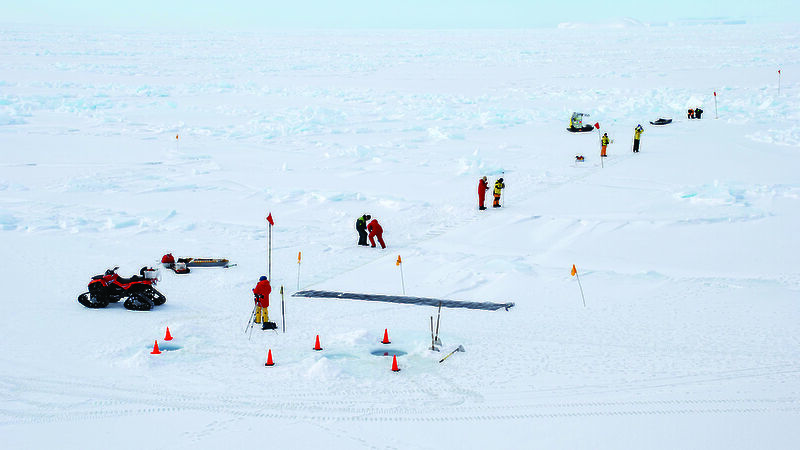 Scientists taking measurements on an ice floe during the previous sipex voyage in 2007.