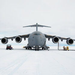 The C17-A Globemaster aircraft at Wilkins Aerodrome in East Antarctica.