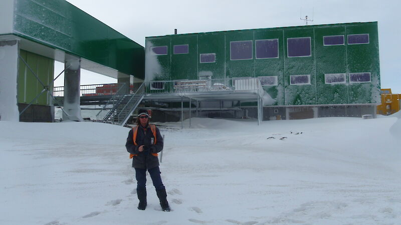 Project Engineer Mark Pekin in front of the new Living Quarters