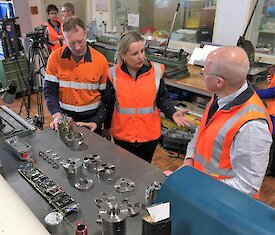 Minister for the Environment, the Hon Sussan Ley MP, inspecting the completed ice core drill components