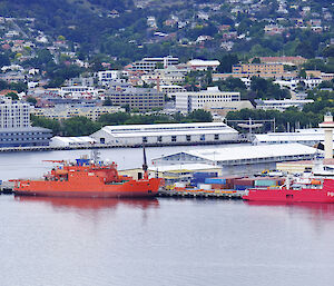 Aurora Australis and L'Astrolabe berthed in Hobart