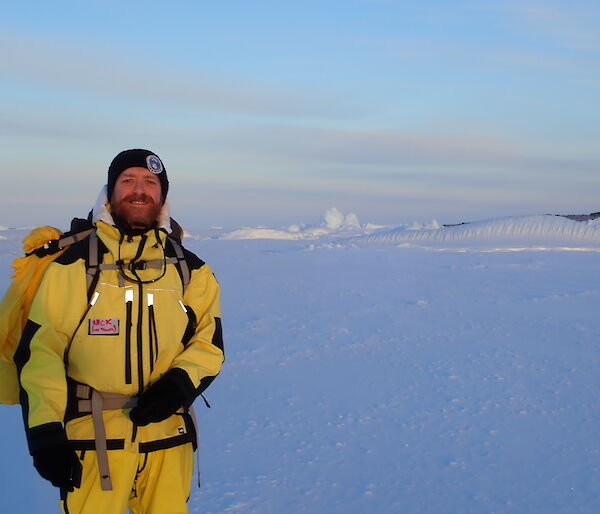 Antarctic chef on sea ice