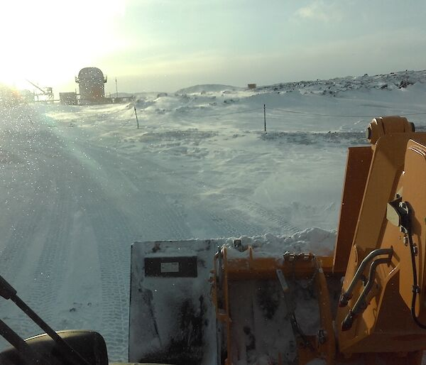 Clearing snow roads in Antarctica