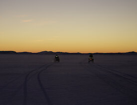 Quad bikes in Antarctica on sea ice