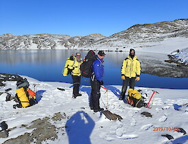 Expeditioners at Deep Lake, Antarctica