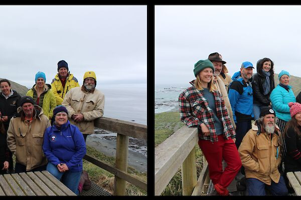 A pair of identical reversed images of a team of women and men are at a lookout are side by side.