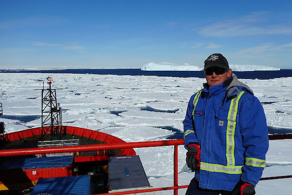 Expeditioner on ship in pack ice
