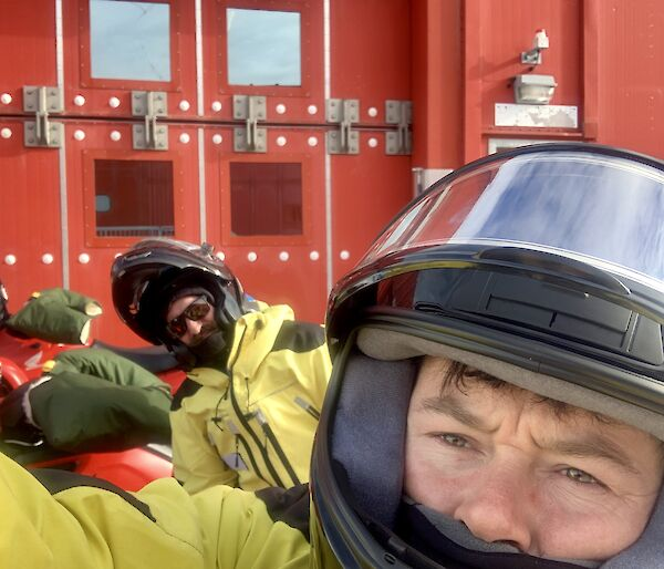 Mawson expeditioners Tom D & Tom C prepping quad bikes for field training.