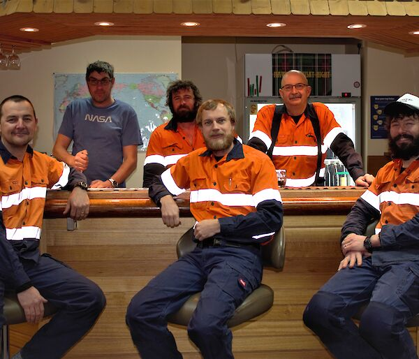 The Mawson 72nd ANARE Infrastructure Team — Back row: Scottish, Terry, Geoffrey; Front row: Glenn, Wazza, Tom the Elder.