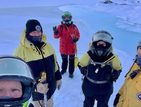 Mawson expeditioners enjoying some quad riding on the sea ice.