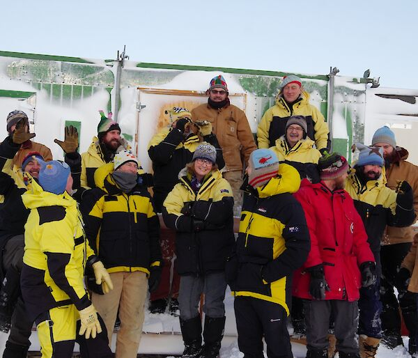 Mawson 72nd ANARE expeditioners proudly wearing their bespoke Hadley Hats.