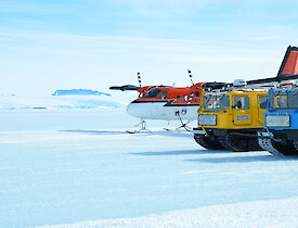 Mawson Kista Straight ski landing area with Hägglunds and Twin Otter.