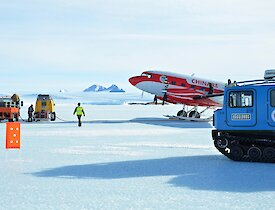 Twin Otter refuelling on sea ice at Mawson Station.