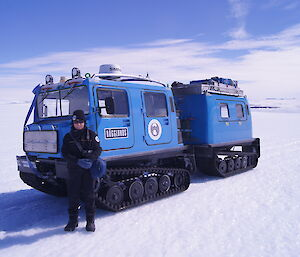 Sandra Sdraulig and Blue Hägglunds in Mawson's Framnes Mountains.