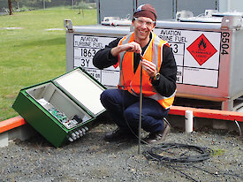 Jeremy Richardson undertaking some pre-deployment testing of the electrokinetic equipment at the Australian Antarctic Division in Kingston.