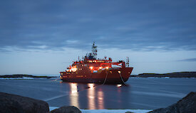 The Aurora Australis moored in Horseshoe Harbour, Mawson, at twilight