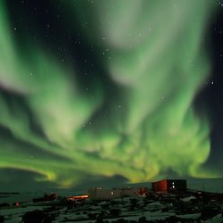 The southern lights over Mawson station.
