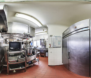 A 360 degree view of the Macquarie Island station kitchen.