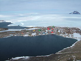 Aerial photo of Mawson station at end of Horseshoe Harbour