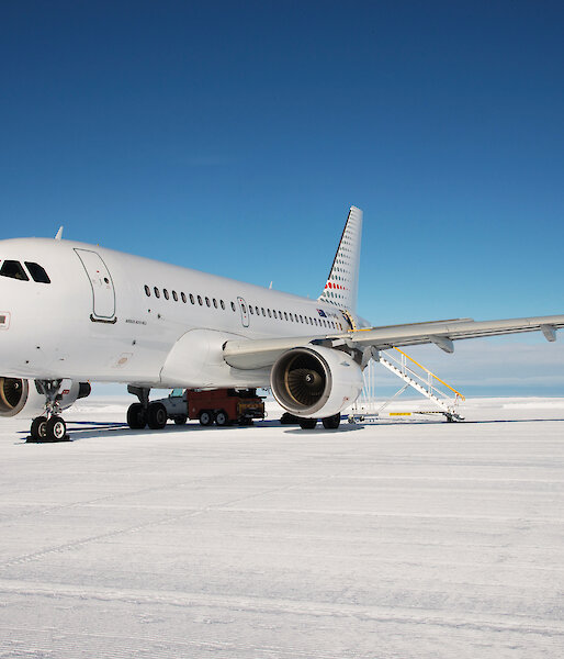 The Airbus A319 in Antarctica.