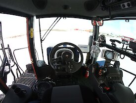 Interior view of the tractor cab