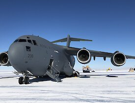 C17 Globemaster III aircraft on the ice