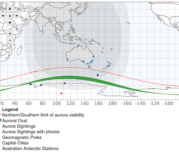 Map showing the limits of aurora visibility