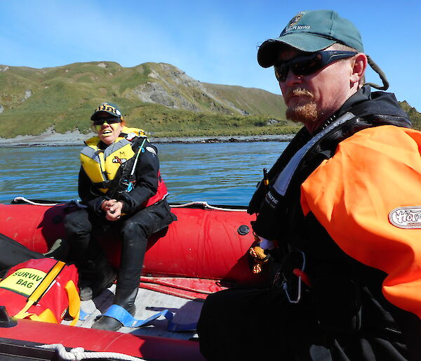 two expeditioners in boat