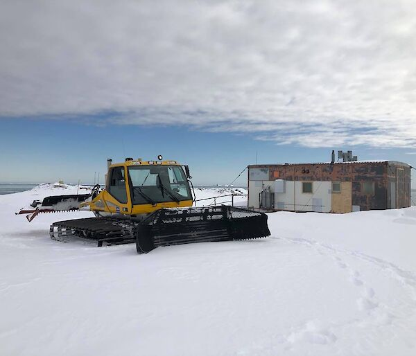 One of the groomers out at Wilkes Hilton hut on the Clark Peninsula