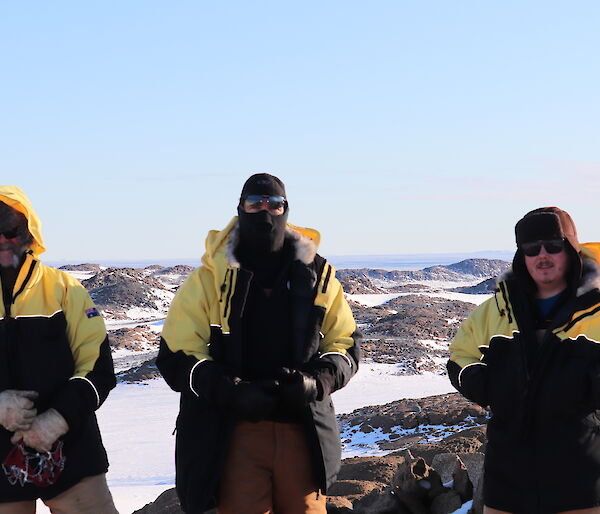 Three expeditioners at the Browning Peninsula