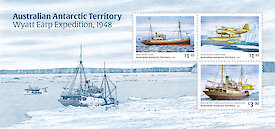 A mini-sheet of three Wyatt Earp stamps with an intaglio engraving of the ship and aircraft in sea ice.