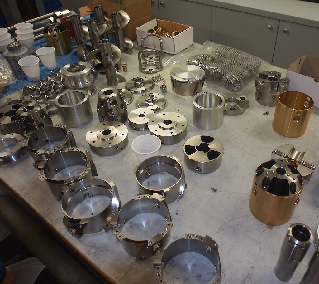 A selection of stainless steel, brass and aluminum drill components machined at the Australian Antarctic Division.