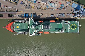 Aerial view of the green decks of the icebreaker Nuyina.